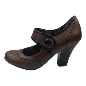 Sofft Women's Fiona Leather Wing Tip Mary Jane Shoe Heel Brown Tobacco US 8M